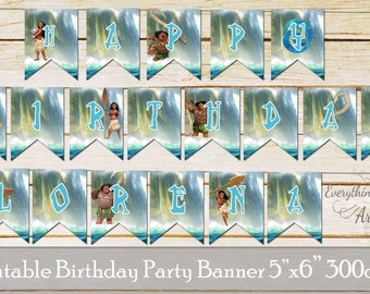 Moana birthday banners, Moana birthday party flags, Birthday flags, Aloha birthday banners, Moana printabale banners