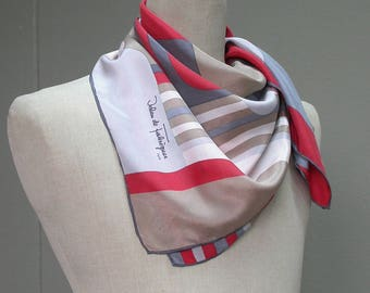 Vintage Scarf, Jehan de Fabregues Paris Scarf, Soft Scarf, 100% Silk, Gift For Her. Made in France.