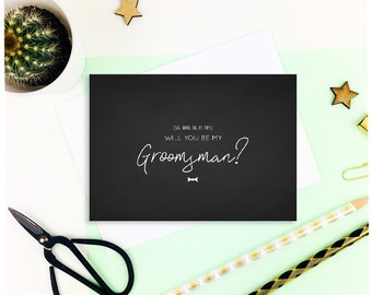 Chalkboard 'She made me do this, will you be my groomsman?' card / uk / handmade / usher / best man