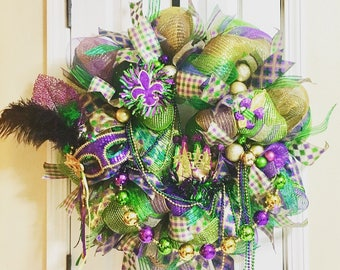 Mardi Gras Wreath, Mardi Gras Door Decor, Mardi Gras Decorations