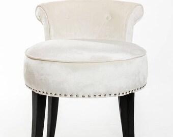 Luxury White Silk Velvet Vanity Stool