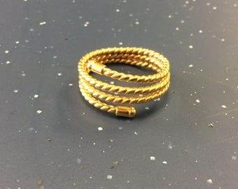 21K Yellow Gold Coiled Rope Styled Ring.  2.9DWT