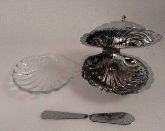 Vintage Silver Plated Leonard Clam Shell Butter Dish Set