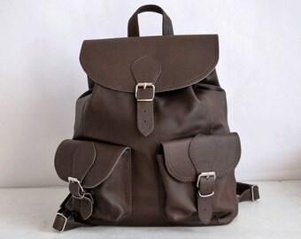 BROWN LEATHER BACKPACK  Brown Backpack Multi Way Rucksack Convertible  Brown Leather Shoulder Bag Women's handbag Leather handbag