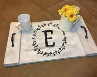 Personalized Monogram Serving Tray with Handles | Hand-painted Wood Serving Tray| Farmhouse Serving Tray | Rustic Serving Tray