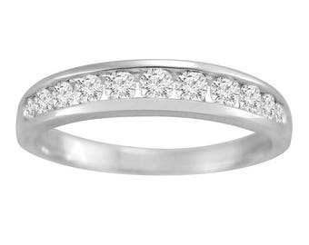 1/2Ct Round Diamond Channel Band 14K White Gold Wedding Ring