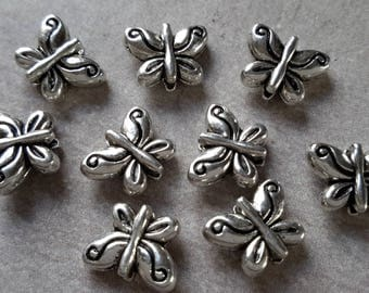 10 pcs beads Farfalle beads spacer butterfly, silver - 10 x 8 mm