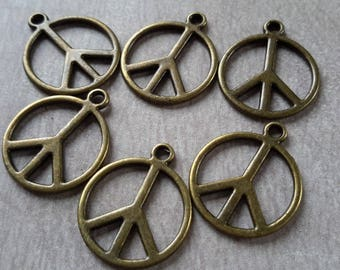 Large pendant peace and love charms baba Bohemian Metal color bronze - 21 x 18 mm