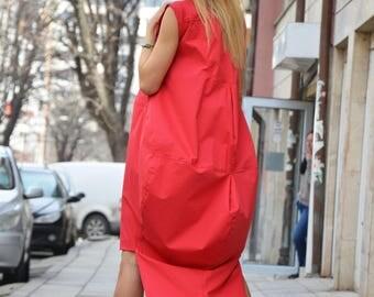 Asymmetric Red Cotton Dress, Extravagant Long Short Dress, Plus Size Maxi Kaftan, Cotton Zipper Tunic, Fashion Dress by SSDfashion