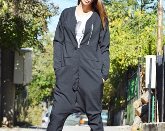 Collection Black Jumpsuit With Zippers, Extravagant Loose Pants With Side Pockets, Long Sleeves by SSDfashion
