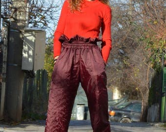 High Waist Pants, Extravagant Fashion Design Pants, Large Wide Leg Pants, Maxi Trousers, Modern Style Pants by SSDfashion