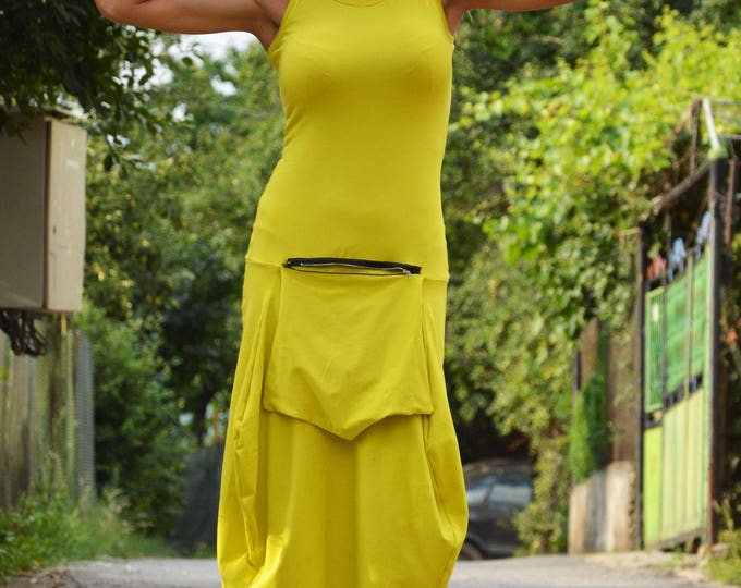 Extravagant Woman Yellow Dress, Elegant Tunic with Front Poket, Daywear Dress, Loose Fitted Dress, Party Midi Dress By SSDfashion