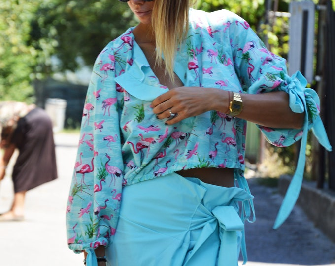 Extravagant Floral Cotton Shirt, Loose Asymmetric Flamingo Shirt, Summer Maxi Top, Oversize Blouse by SSDfashion