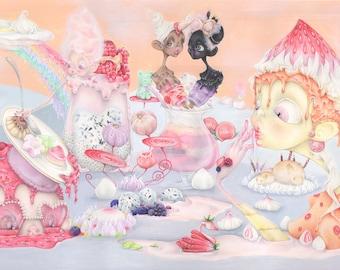 candy land pop surrealism illustration pastries healthy food dessert pastel ice cream vegan ORIGINAL