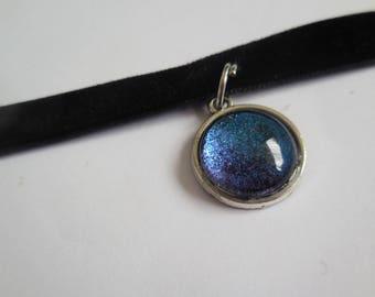 Black velvet blue black pendant choker handmade