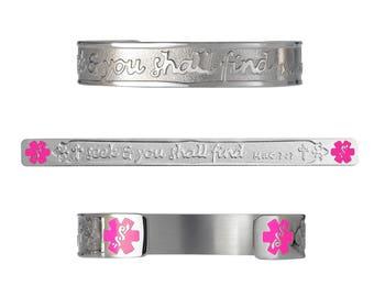 "Matthew 7:7 316L Christian Bracelet - 6"" Cuff ( fits 6.5-8.0"")-Pink-Free Custom Engraving, Card, Apps-5334S-PK"