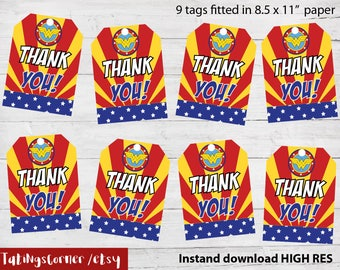 Wonder Woman Thank You Tags, Wonder Woman Favor, Wonder Woman Birthday Tags, Wonder Woman Thank You Card, Wonder Woman Label, Wonder woman
