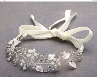 Sale Bridal Vine, Bridal Wreath, Silver Leaf Vine, Crystal Rhinestone Vine, Pearl Vine, Bridal Headpiece, Bridal Headband, Bridal Hair, Hair