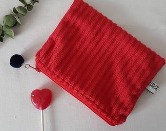 Minkee velvet pouch and cotton oekotex 15 x 11 cm * red *.
