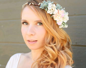 Ivory and Blush Pink flower crown, Flower headband, headband, wedding flower crown, bridal flower crown, bohemian flower crown, floral crown
