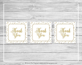 White and Gold Baby Shower Favor Thank You Tags - Printable Baby Shower Thank You Tags - White and Gold Favor Tags - Favor Tags - SP149