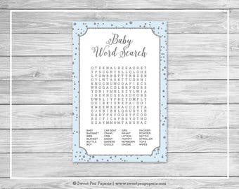 Blue and Silver Baby Shower Baby Word Search Game - Printable Baby Shower Baby Word Search Game - Blue and Silver Baby Shower - SP151