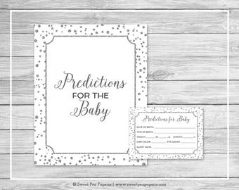 White and Silver Baby Shower Predictions for Baby - Printable Baby Shower Predictions for Baby - White Silver Confetti Baby Shower - SP154