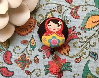 Matrishka Doll-Nurse Retractable ID Badge Reel/ RN Badge Holder/Doctor Badge Reel/Nurse Badge Holder/Nursing Student Gifts