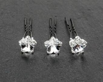 1 x FLOWER hairpin, wedding hair jewelry accessories,bridal hair jewels,set of 3 or 5,bobby pin, hair jewel,Swarovski flower shape cabochon