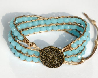 anniversary gift|for|her Crystal Bracelet Beaded Wrap Bracelet Statement bracelet Crystal jewelry for her womens gift ideas Layered bracelet