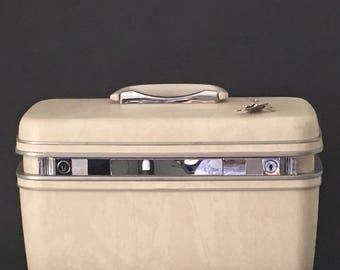 Vintage Samsonite Silhouette Train Case Travel Bag Overnight Bag 1960's