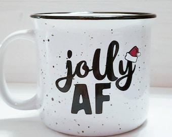 Jolly AF, jolly Christmas mug, funny Christmas mug, coffee mug, holiday mug, Christmas mug, gift, funny coffee mug, Christmas coffee mug