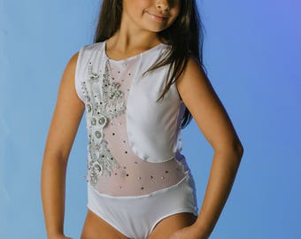 Custom dance leotard, custom dance leotard Lyrical dance costume or contemporary dance costume ;Leotard Dance Costume w144 swarovski crystal