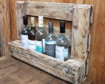 Reclaimed wood wine rack/ Pallet wood wine rack/ Wall mounted pallet wine rack.