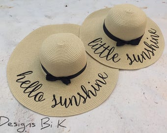 Mother daughter straw hats, Mommy and me set, Mother and daughter matching set, Personalized straw hats, Gift for her, Personalized gift