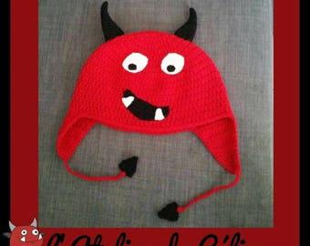 Devil Beanie IMP crochet - baby child adult - birth gift birthday halloween