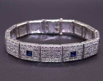 Art Deco Platinum 14k White Gold .30ct French Cut Sapphire Filigree Link Bracelet
