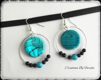 Hoop earrings with turquoise flat bead and black and blue beads