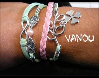 Pink light green suede Cuff Bracelet