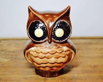 Vintage Brown Owl Figurine