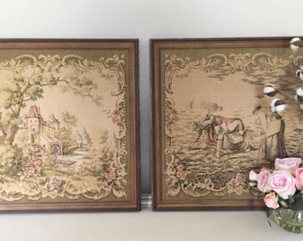 Pair of Old Tapestry Wall Hangings Wall Art Framed Pictures