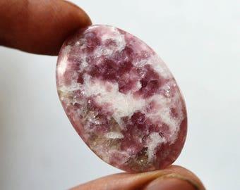 Lepidolite Gemstone Cabochon 21 Cts Natural Designer Lepidolite Oval Shape 33x22x3 MM R14300
