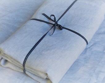 Beautiful Pure Linen Tablecloth, handmade. 'Silver' 100% Linen
