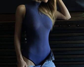 Bodysuits for Women, Womens bodysuit, Striped bodysuit, Blue bodysuit