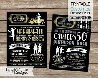 Printable Customize For ANY Event! ROARING 20'S INVITATION, Gatsby Invitation, Roaring 20s Great Gatsby, Speakeasy Roaring 20's Party Casino
