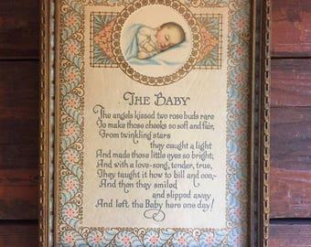 The Baby Framed Poem / Vintage Wall Hanging / Nursery Decoration
