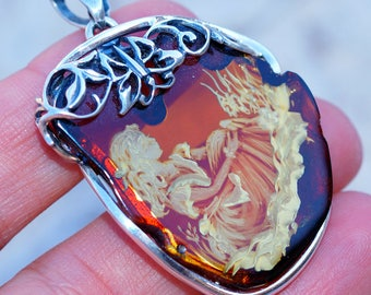 Hand Carved Baltic Amber Lady set in Solid 925 Sterling Silver Pendant