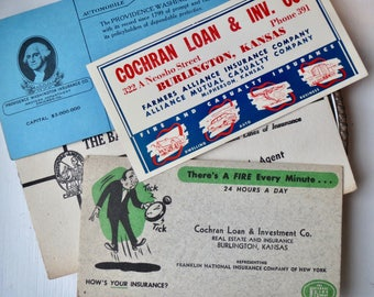 Four American Cochran Loan & Investment Co advertising blotters, Burlington Kansas. Gift idea, Calligraphy, writing, ink pen, office desk,