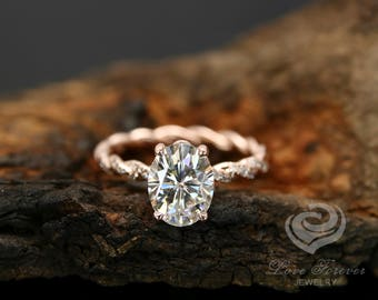 Certified 9x7mm/2.10 Carat Oval Forever One G-H Color Moissanite 14k Rose Gold Diamond Twisted Shank Engagement Ring(Other Stone Available)
