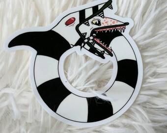 Beetlejuice Sandworm Ouroboros Vinyl Sticker